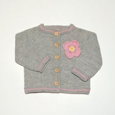 Knit grey baby girls set with pink flower merino set by Tuttolv