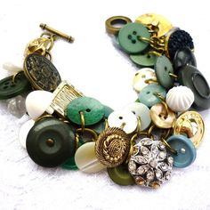 "Jewelry DIY / ""grandmas button bracelet"" on We Heart It Diy Buttons, Vintage Buttons, Vintage Rhinestone, Beaded Jewelry, Jewelry Bracelets, Handmade Jewelry, Leather Bracelets, Leather Cuffs, Metal Jewelry"