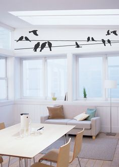 Song of the Birds on wire wall art decals