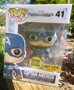 New Rare Funko Pop! Captain America Glow In The Dark Edition Vinyl Figure Chase