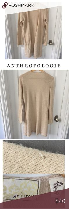 Anthropologie Guinevere Metallic Open Cardigan Anthropologie Guinevere Cream & Gold Metallic Open Cardigan. 35 inches long. 20 inch bust. Small hole on one of the long sleeves, but otherwise gently worn and great condition. Feel free to make an offer or bundle and save! Anthropologie Sweaters Cardigans