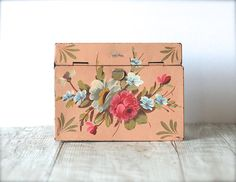 Tole Ware Hinged Metal Box Shabby Peach Roses Crumb by ivorybird, $10.00
