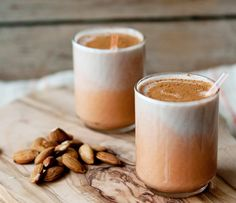 Almond milk* blended with carrot/ginger juice, banana, and cinnamon. *Recipe for homemade almond milk is provided. Juice Smoothie, Smoothie Drinks, Healthy Smoothies, Healthy Drinks, Smoothie Recipes, Healthy Snacks, Almond Milk Recipes, Homemade Almond Milk, Raw Food Recipes