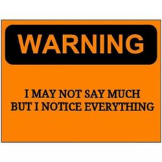 WARNING I may not say much but I notice everything