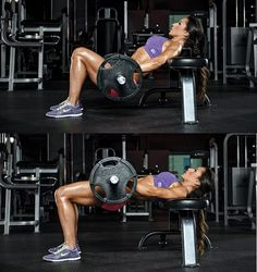 Try this barbell hip thrust butt exercise for a better butt and a bikini butt from Nathalia Melo and Brett Contreras