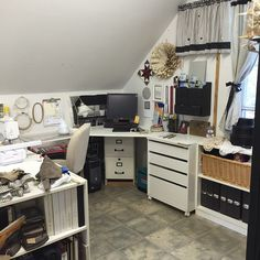 """Our fan @sewinforyou says, """"My sewing room , how do you keep yours neat and clean??"""" #sewing #room #organization"""