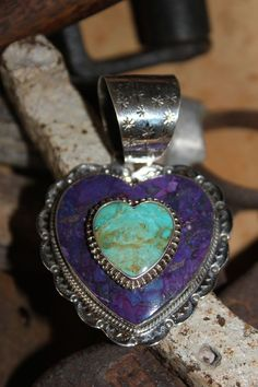 Beautiful Purple Mojave Turquoise Heart Pendant Set in Sterling - Variations