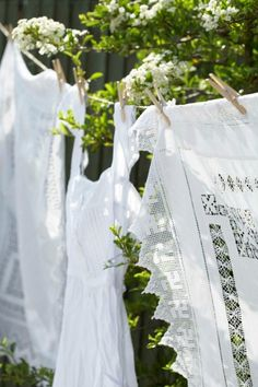 French country farmhouse: beautifully fresh linens hung out on wash day