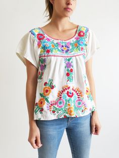 Baja Embroidered Top // Vintage Mexican Style Folk Blouse SOLD