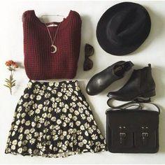 skirt tumblr hat boots jumper top bag shoes