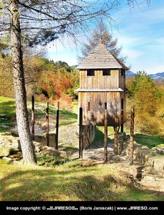 A vertical view of an ancient wooden fortification located in the open-air archeological museum (archeoskansen) of Havranok that is situated a top of the hill of the same name; above the Liptovska Mara, between the towns of Ruzomberok and Liptovsky Mikulas, in Liptov region, northern Slovakia.