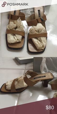 "Nine West Sandal Heel Beige Nine Weat sandal heel with straps 1"" heel. Slight discoloration on the bottom of the shoe. Still in box it came in! Nine West Shoes Heels"
