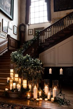 The grand staircase decorated with candlelight and eucalyptus for a winter wedding ceremony at Glemham Hall. An exclusive use country house wedding venue in Suffolk UK wedding uk Grand staircase with candlelight for wedding ceremony Wedding Ceremony Ideas, Winter Wedding Ceremonies, Winter Church Wedding, Fall Wedding, Reception, Country House Wedding Venues, Rustic Wedding Venues, Indian Wedding Decorations, Wedding Staircase Decoration