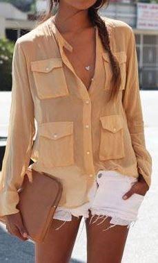 casual style perfection: shirt + bag + shorts
