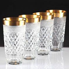 4 schwere Kristall Becher Gläser Goldrand Schliff Made in Germany US-Zone R6M