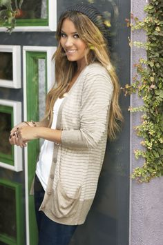 stripped cardigan and cute beanie