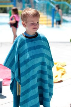 Not only does a Swim Towel Pullover stay put, it also keeps kiddos warm and you don't have to worry about tripping or dragging in the dirt.