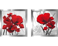 Bring some floral fancy to your walls with this must-have two-piece graphic art print set. The perfect finishing touch for traditional ensembles, this set will effortlessly elevate your ensemble with classic flair. These two prints showcase large red poppy flowers with black brushstroke stems set against a gray background with a subtle botanical motif. Made in North America, each artwork is printed on a canvas and finished in a silver frame. Try hanging these prints above your living room…