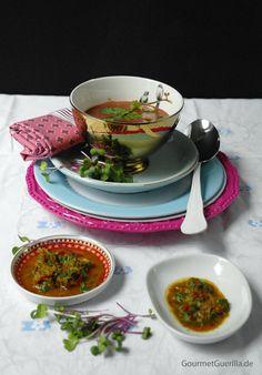 Rote Beete-Kokossuppe mit Thai-Pesto