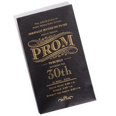 Candy Bar Invitation/Envelope - Black/Gold-Prom Invitation