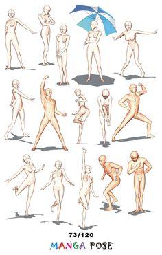 Tutorial Drawing Manga pose. Big pose books for manga anime character : Standing poses