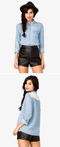 Forever 21 / Embroidered Collar Chambray Shirt