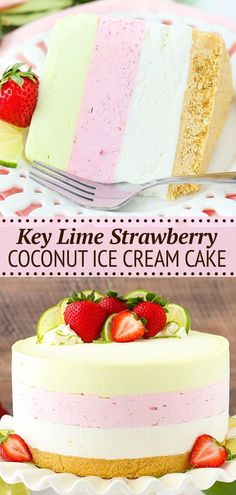 This Key Lime Strawberry Coconut Ice Cream Cake combines three delicious flavors into one colorful ice cream cake that's completely no-bake, no-churn and filled with fresh fruit! Lime Ice Cream, Coconut Ice Cream, Cake Recipes, Dessert Recipes, Baking Recipes, Easy Desserts, Delicious Desserts, Best Ice Cream Cake, Cheesecake Desserts