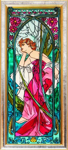 Alphonse Mucha Le Soir Evening by ColoredGlassByOlia Tiffany Stained Glass, Stained Glass Art, Stained Glass Windows, Art Nouveau Mucha, Alphonse Mucha Art, Mosaic Art, Mosaic Glass, Mandala, Oeuvre D'art