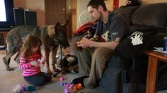 CUTE: This is Panzer and US Army veteran Brad Schwarz, who suffers from post traumatic stress disorder. Panzer is not a war dog, but a service dog who helps war veterans.