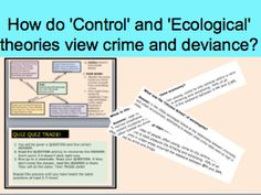*FULL LESSON* How do 'Control' and 'Ecological' theories view crime and deviance? A-Level Sociology Forensic Psychology, Third Grade Science, Forensic Anthropology, Developmental Psychology, Materials Science, Study Skills, Classroom Displays, Forensics, Science Classroom