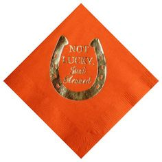 """Party Supplies-Ann Page - Cocktail Napkins - """"not lucky, just blessed """" Gold Foil"""