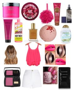 PINK!! by hashtag-polyvore-for-life on Polyvore featuring polyvore, beauty, Lancôme, Cleanse by Lauren Napier, Molton Brown, philosophy, The Body Shop, L'Oréal Paris, Soap & Glory, Forever 21, Organix, Valery Joseph and River Island