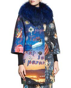 Libertine Starry Night Fur-Collar Coat