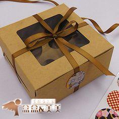 Alta qualidade 35 pçs/lote 16 x 16 x 7.5 cm segure 4 biscoitos janela PVC com inserção caixas de bolo queque sacos de embalagem de bolo kraftpaper