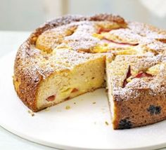 Rhubarb & custard cake - Very easy. I loved it. If you like custard, you like rhubarb, and you like cake, this is for you. PS I used tinned rhubarb Rhubarb Custard Cake Recipe, Rhubarb Cake, Rhubarb Recipes, Rhubarb Pudding Cake, Bbc Good Food Recipes, Baking Recipes, Sweet Recipes, Cake Recipes, Yummy Food