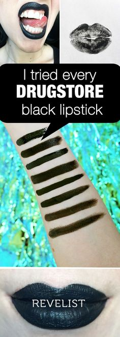 Black lipstick is a bold look, so there's little room for error. We went on the hunt for the best drugstore (affordable) black lipstick around. We tried matte, glittery, glossy, and others until we found one that had the right texture, finish, and endurance. Read on to find out which lipstick came in first place.