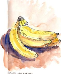 Day 125 - I drew a banana I didn't draw anything yesterday. Instead I cleaned up and replenished my watercolour kit. This morning I made up the gap in my daily sketching with this simple drawing - done with Uni PIN pen and my nice clean watercolours. #Art #Banana #Fruit #Ink #Sketch #Watercolour #WorldWatercolorGroup