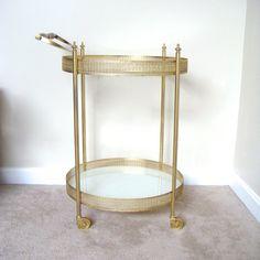 Hollywood Regency Gold Bar Cart Vintage Bar Cart by FineBird, $320.00