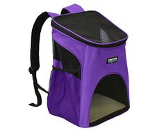 Dog Carrier Backpacks - KritterWorld Pet Carrier Backpack Purple Outdoor Softsided Dog Cat Pet Carrier Mesh Pup Pack Travel Backpack Adjustable with Builtin Collar Buckle Removable Fleece Bed Sided Pocket ** For more information, visit image link. (This is an Amazon affiliate link)