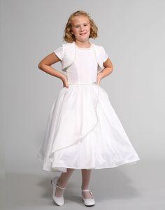 Sweetie Pie Collection Style 3040 - WHITE Taffeta Dress with Rhinestone Accents and Matching Bolero White Flower Girl Dresses, White Dress, Dresses For Less, Taffeta Dress, Beadwork, Beading, Beautiful Dresses, Wedding Dresses, Skirts