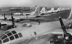 Boeing B-29 Superfortress bombers outside the Wichita Kansas plant during World War II.