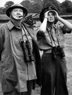 Winston and daughter Mary watching measures to combat flying bombs in the south of England June 44 ~