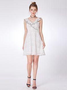 cd0ecb2426bd4 Alisa Pan V Neck Polka Dot Party Dress | Ever-Pretty #homecoming  #homecomingdress