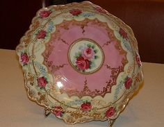 Antique-Victorian-Nippon-Roses-Scalloped-Edges-Moriage-Pink-Gold-Beading