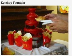 Meanwhile, in America... Ketchup, Fondue Fountain, Redneck Party, Chocolate Fountains, French Fries, Hot Sauce Bottles, Just In Case, Make It Yourself, Funny Stuff