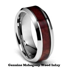 Top Quality TUNGSTEN Carbide Wedding Band, 8mm  Tungsten Carbide & Genuine Mahogany Wood  Inlay Tungsten Ring Men's Wedding Band Comfort Fit