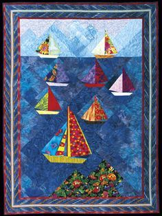 Foundation Piecing – It's a Breeze Reprinted from American Quilter Magazine By: Marci Baker CLEAR SAILING, x All quilts by Marci Baker I've always been intrigued by the… Lap Quilts, Small Quilts, Mini Quilts, Paper Piecing Patterns, Quilt Patterns Free, Quilting Projects, Quilting Designs, Quilting Tips, Beach Quilt