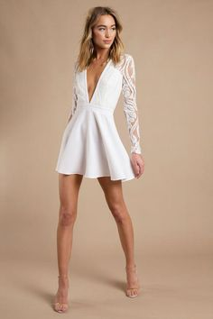 Shop Fit and Flare Skater Dresses at Tobi. Whether it's a white lace skater dress, black long sleeve or red skater dress - find it here. White Skater Dresses, Sexy White Dress, White Long Sleeve Dress, Little White Dresses, Sheer Dress, Short White Dresses, Dress Long, White Dress Outfit, Simple White Dress
