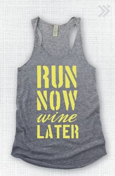 Grey/Black Run Now Wine Later Eco Tank by everfitte on Etsy