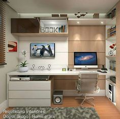 Leading 10 Stunning Home Office Style Home Office Setup, Home Office Space, Bedroom Office, Home Office Design, Bedroom Decor, House Design, Office Style, Interior Design, Home Decor